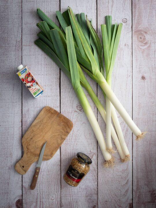 poireaux crème de soja et moutarde a l'ancienne ingrédients pour une recette de fondue de poireaux